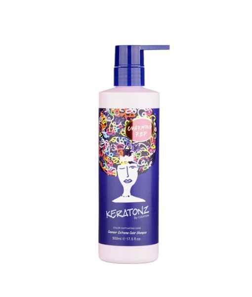 KERATONZ CLEANSE + EXTREME COLOR  SHAMPOING 500ML ROUGE- CYNOS